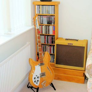 Wooden CD Shelving and Guitar Amp stand