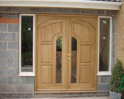 Wooden front double doors